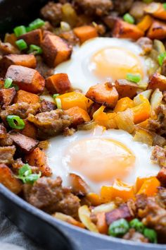 Sweet Potato Hash with Sausage and Eggs {Paleo & Whole30}   The Paleo Running Momma
