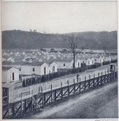 """Elmira Prison, NY. was known in the South as """"Hell-mira."""" During the 15 months the site was used as a prisoner of war camp more than 12,100 Confederate soldiers were incarcerated there; of these, nearly 25% (2,963) died from a combination of malnutrition, continued exposure to harsh winter weather, and disease from the poor sanitary conditions on Foster's Pond combined with a lack of medical care."""
