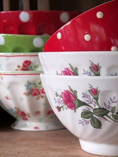 pretty dot and floral dishes