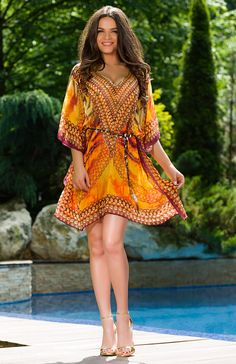 A vivid print, with hand sewn rhinestones details this orange coverup from Vero Milano, with V-neckline, flutter sleeves and asymmetric hem. Beautiful Definitions, Boho Inspiration, Flutter Sleeve, Summer Collection, Day Dresses, Chic Outfits, Boho Chic, Beachwear, Cover Up