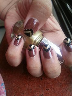 Golden n Brown nail art