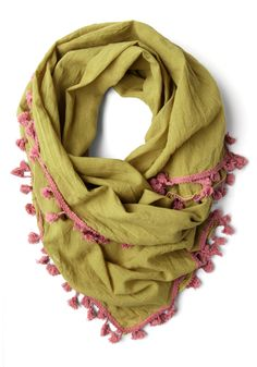 Love and Lighthearted Scarf in Olive - Yellow, Pink, Solid, Tassles, Trim, Boho, Cotton