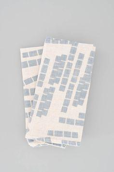 Napkins - Tiles in Blue by Koromiko. Hand screenprinted in the USA. Light blue napkins, set of 2. #textiles #fabric #linens #tableware #homewares #modern #design