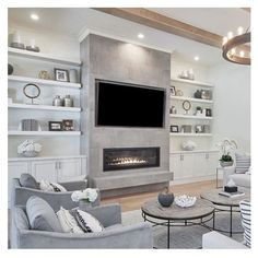 Tv Above Fireplace, Linear Fireplace, Fireplace Built Ins, Fireplace Design, Fireplaces With Tv Above, Fireplace Modern, Fireplace With Built Ins, Living Room Decor Fireplace, Home Fireplace