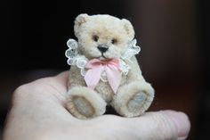"""1 1/2"""" polymer clay mohair teddy bear. Sculpted and then the mohair is added with tweezers bit by bit.  htttp://www.kimbearlys.com """"SOLD"""""""