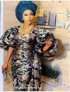 Gown-Wrapper Dress with Puff Sleeves n gele Best African Dresses, Latest African Fashion Dresses, African Print Fashion, Africa Fashion, African Attire, African Clothes, African Prints, Beyonce, Kardashian