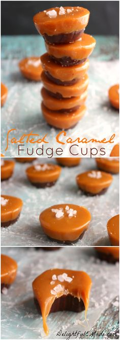 Salted Caramel Fudge Cups – Delightful E Made Caramel and chocolate come together to make one incredibly delicious treat! With just four ingredients, these Salted Caramel Fudge cups are soft, gooey, sweet and really easy to make! Fudge Recipes, Candy Recipes, Sweet Recipes, Dessert Recipes, Top Recipes, Yummy Treats, Delicious Desserts, Sweet Treats, Salted Caramel Fudge