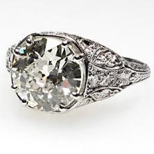 Antique Art Deco 1920's Old Euro Cut Diamond Engagement Ring, Solid Platinum
