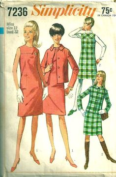 Simplicity 7236 1960s Misses Mod Jacket Dress and Jumper Pattern Womens Vintage Sewing Pattern  by patterngate.com