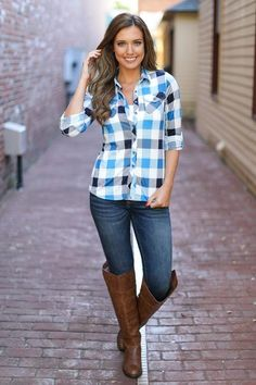 Flirting With Flannel Top - Checkered Blue