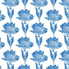 zelda blue by lynn clark design whimsical hand drawn floral print in blue available for licensing #surfacedesign, #pattern
