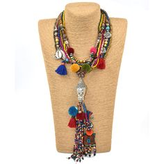 New Clothing accessories Bohemian ethnic beaded tassel choker Necklace colorful Pompoms long fringes Buddha Pendants Necklace