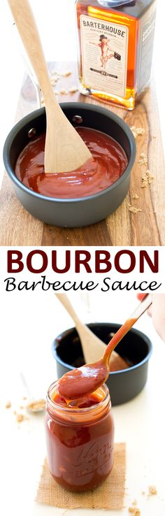 Sweet, tangy and a full of flavor. Incredibly easy to make and requires one pot! Bourbon Barbecue Sauce Recipe, Barbecue Recipes, Grilling Recipes, Cooking Recipes, Vegetarian Grilling, Healthy Grilling, Vegetarian Food, Barbacoa, Receta Bbq