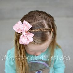 This has been a staple style for us since she was 17-18 months old. It only takes a few minutes and is so cute!  I'm working on a beginners toddler video where I will showcase 3-4 styles that are great for beginners and can be done in a few minutes. Swipe to see additional views.   Her darling flamingo bow is from @ellasbeaushop.
