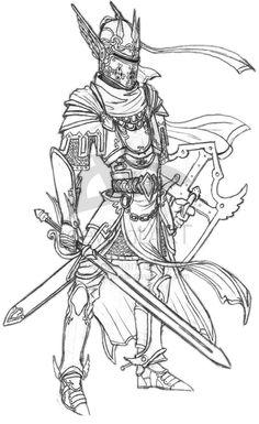Paladin armor line art