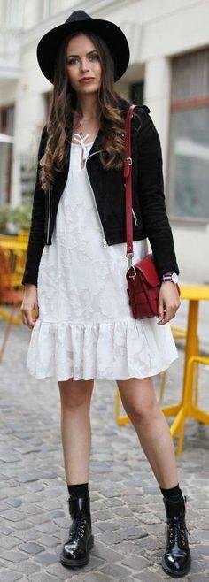 #summer #popular #outfitideas Black Biker + White Boho Dress