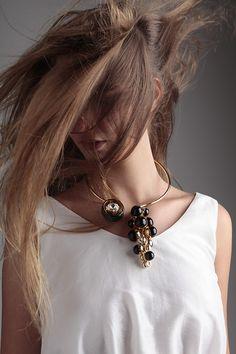 Julia - Brass, black resin and Svarowski rhinestones make this Asymmtric collar a lux rock piece. Tomorrow's fashion today. www.Wowcracy.com