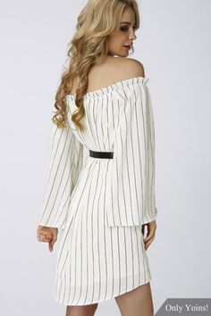 The sexy and adorable stripe mini dress is made from a super lightweight fabric in an off white hue. It is an off-the-shoulder, shift style and features bell sleeves, scooped hem with side splits. Complete the look with a belt at waist to contour the waist. Waist belt not included.