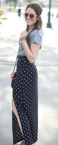 #street #style polka dot skirt @wachabuy