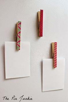 Magnets porte mémo avec pinces à linge et ruban adhésif Washi