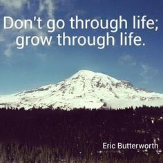 """Don't go through life: grow though life"" Eric Butterworth"