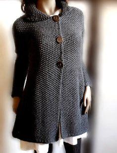 Women's hand knit sweater Knit coat Merino wool cardigan