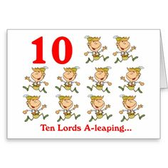 On the 10th Day of Christmas ten Lords a-leaping Greeting Card