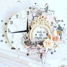 Gorgeous! #Repost @vero_atienza  ・・・  To decorate my scrapbookroom, i made this wall clock with @primamarketinginc Rose Quartz collection, metallic accents watercolor and stars mechanicals #PrimaDTCall #rosequartz  #primamarketinginc