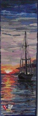 Torn paper art - sailboat