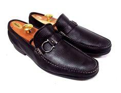 e68344b6c14 SALVATORE FERRAGAMO Men s Black Leather Buckle Loafers Size 10 D Leather  Buckle