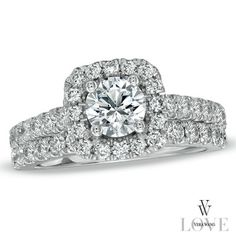 Vera Wang LOVE Collection 2 CT. T.W. Diamond Frame Bridal Set in 14K White Gold
