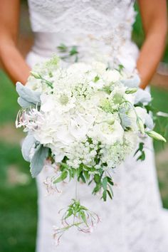 Bridal bouquet with Dusty Miller, Ruscus and Queen Anne's Lace