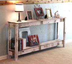 SALE Rustic Sofa Table in Farmhouse White by DougAndCristyDesigns Decor, Sofa Table, Farmhouse Sofa Table, Furniture, Farmhouse Sofa, Home Furniture, Couch Table, Rustic Sofa Tables, Home Decor