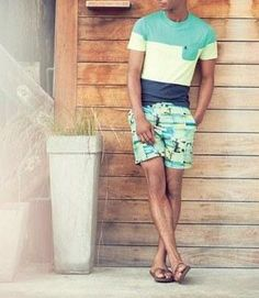 Nice look for spring | Original Penguin tee and print swim shorts