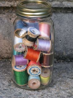 hom pak quart mason jar filled with 32 wooden spools of thread country crafts mixed media sewing on Etsy, $16.00