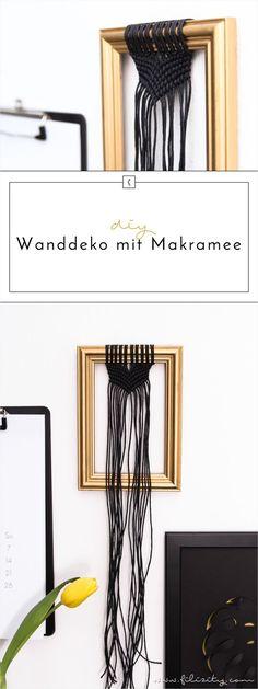 Frühjahr-/Sommer-Trend Makramee – So kannst du moderne Wanddeko mit Makramee aus etwas Garn und einem alten Bilderrahmen ganz einfach selber machen.