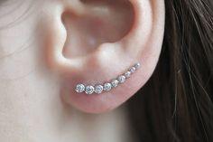 Silver Ear Climbers Tiny CZ Ear Climbers Crystal Earrings