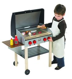 might help keep them away from the real grill! My Backyard Play Grill BBQ! Smokin' hot play value! With its rolling wheels, clicking knobs, and collapsible side table, this sturdy, wood play grill does everything but barbeque. Hape Toys, Bbq Set, Backyard Play, Wood Toys, Toys Shop, Kids Furniture, Unique Furniture, Play Houses, Educational Toys