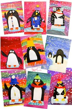 First-grade-artsy-penguins - pinner suggests using paint for the background but with our limited time in the library, maybe tissue paper strips would make a better background.
