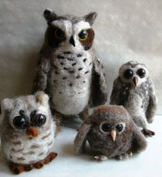 Needle Felted Owl Great Horned Owl Large Size by ThreeDogsandaCat, $69.00