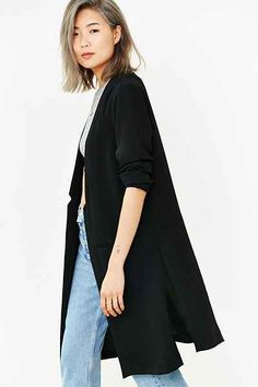 Silence + Noise Notch-Collar Calf-Length Blazer - Urban Outfitters