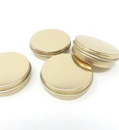 Gold Metal Tins oz) with Screw On Lids, Small, Round Empty Containers for Lip Balm, Party Favor Beautiful Inside And Out, Something Beautiful, Vegan Makeup Diy, Makeup Containers, Make Your Own Makeup, Bridal Shower Favors, Party Favors, Lip Balm Recipes, Homemade Lip Balm
