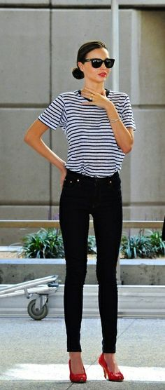 Miranda Kerr in stripes