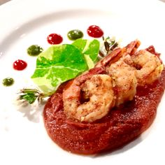 Shrimp with chipotle chocolate sauce