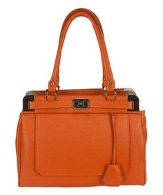 Another great find on #zulily! Orange Cara Leather Satchel by H&S Collection #zulilyfinds
