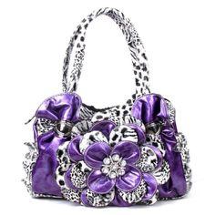 Handbags, Bling & More! Purple Leopard Flower Rhinestone Fashion Handbag : Fashion Purses
