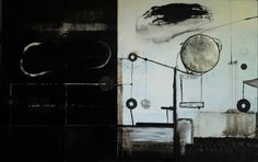 Fabryka planet/ Factory of Planets, artist's own technique, mixed media on canvas, 2013/2016,  90x 140 cm. Magdalena and Maks Daniec