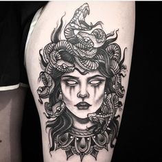 medusa tattoo Medusa from Amanda amandarinertattoo Maori Tattoos, Irezumi Tattoos, Leg Tattoos, Body Art Tattoos, Tattoo Thigh, Tatoos, Skull Tattoos, Thigh Tattoos For Men, Front Thigh Tattoos
