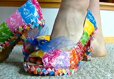 Shoes made out of Starburst Wrappers