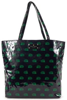 KATE SPADE Navy Blue Green Vinyl Hedgehog Print Tote Bag    eBay